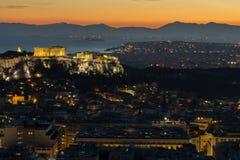 Acrópolis en Atenas, Grecia Imágenes de archivo libres de regalías