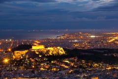 Acrópolis en la noche Imagen de archivo libre de regalías