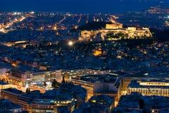 Acrópolis en la noche Imágenes de archivo libres de regalías