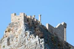 Acrópolis en Lindos, isla de Rodas (Grecia) Imagen de archivo libre de regalías