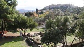 Acrópolis y Aghora, Atenas Grecia almacen de metraje de vídeo