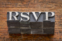 Acrônimo de Rsvp no tipo do metal Foto de Stock