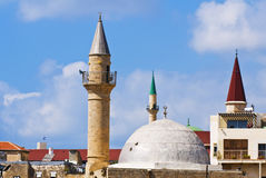 Acre. Church and a mosque in the old city of Acre in Israel Stock Image