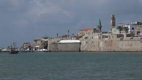 Acre Akko old city port skyline, Israel stock footage