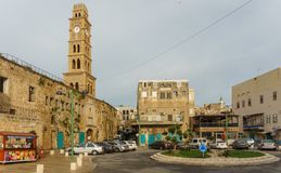 ACRE, ISRAEL - April 3, 2018: Clock tower in the old city of Akko Israel. stock photo
