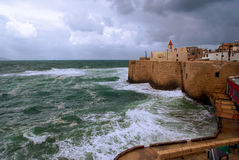 Acre sea wall, Israel. A view of acre ancient city walls, Israel Royalty Free Stock Photos