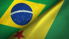 Acre state and Brazil flags textile cloth, fabric texture. Acre state and Brazil folded flags together stock illustration