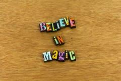 Acredite o sonho mágico do milagre para criar a tipografia fotografia de stock royalty free