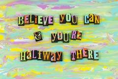 Acredite-se você fonte dura da tipografia do trabalho da atitude positiva do sucesso ilustração stock