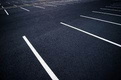 Acres of empty parking spaces.  Stock Image