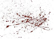 Acrilic paint red splatters. Artificial blood splatters on white background stock image