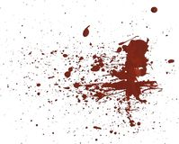 Acrilic paint red splatters. Artificial blood splatters on white background royalty free stock photos