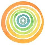 Acrilico astratto e fondo dipinto cerchio dell'acquerello Immagini Stock