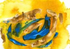 acrilico e acquerello gialli, blu e verdi Fotografia Stock Libera da Diritti