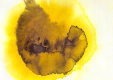 acrilico e acquerello gialli e marroni Fotografie Stock Libere da Diritti