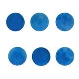 Acrilico o acquerelli blu della sfuocatura su Libro Bianco Dettagli isolati Fotografie Stock