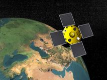 Acrimsat satellite - 3D render. Acrimsat satellite upon the earth to study it in the space Stock Images