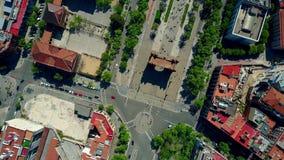 ACRO de Triunfo - Triumphbogen in von der Luftdraufsicht Barcelonas Stockbilder