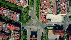 ACRO de Triunfo - Triumphbogen in von der Luftdraufsicht Barcelonas, Spanien Lizenzfreie Stockbilder