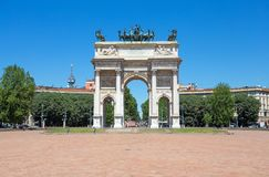 ACRO-della Schritt, Bogen des Friedens, nahe Sempione-Park im Stadtzentrum von Mailand, Italien Stockfotos