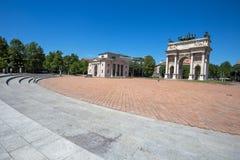 ACRO-della Schritt, Bogen des Friedens, nahe Sempione-Park im Stadtzentrum von Mailand, Italien Stockbilder