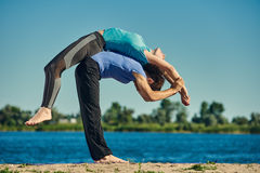Acro yoga asana Royalty Free Stock Photos