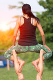 Acro yoga in the park Stock Photography