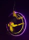 Acrobaatvrouw bij circus Stock Afbeeldingen