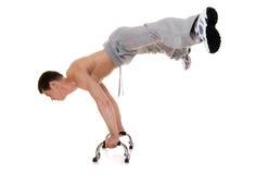 Acrobat. Acrobat posing isolated on white stock photo
