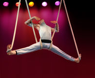 Acrobat. On stage stock photography