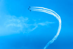 Acrobat Aircraft looping in turbo fly on the sky Stock Photos