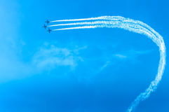 Acrobat Aircraft looping in turbo fly on the sky Stock Images