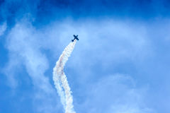 Acrobat Aircraft in turbo fly on the sky Stock Photo