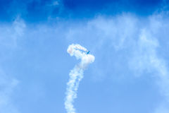 Acrobat Aircraft in turbo fly on the sky. On show Royalty Free Stock Image