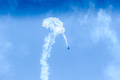 Acrobat Aircraft in turbo fly on the sky. On show Stock Photo