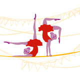 Acrobat ballerinas exercising Stock Photo