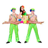 Acrobat carnival dancers doing splits. Against isolated white background Stock Images