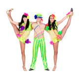 Acrobat carnival dancers doing splits. Against isolated white background Royalty Free Stock Image