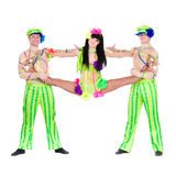Acrobat carnival dancers doing splits. Against isolated white background Royalty Free Stock Images