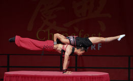 Acrobat of the Chinese State Circus. 17 September 2011. Düsseldorf Germany. Düsseldorf held it's first pro China festival. The aim of this event is to promote Royalty Free Stock Photos