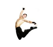 Acrobat dancer jumping. Over white stock photography