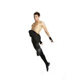 Acrobat dancer jumping. Over white stock images