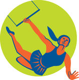 Acrobat Flying Trapeze Act Circle Retro Royalty Free Stock Images