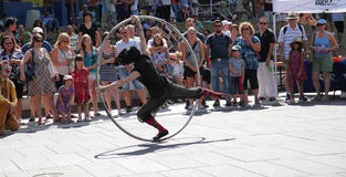 Acrobat and hoop Stock Image