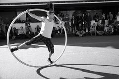 Acrobat hoop show Stock Photos