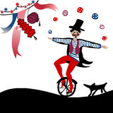 Acrobat juggling on unicycle. Young acrobat juggling on unicycle followed by his dog under party decoration Royalty Free Stock Photos