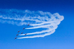 Acrobat plane looping in turbo fly on the sky Stock Images