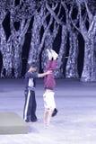 Acrobat practicing handstands Stock Images