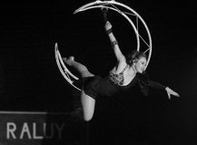 Acrobat woman at circus Royalty Free Stock Image