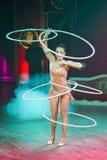 Acrobat woman at circus Royalty Free Stock Photos